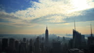 Manhattan skyline time lapse with sunbeams video