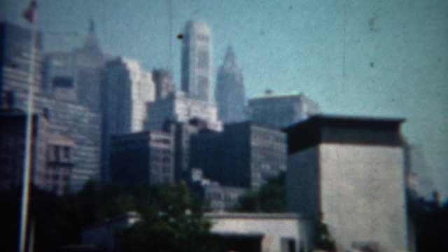 1961: Manhattan skyscraper pan of midtown building architecture. video