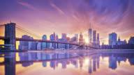 Manhattan sunset from Brooklyn bridge park video
