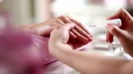 Manicure Treatment. Polishing video