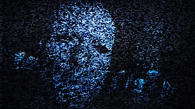 Man's Face in TV Static video