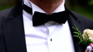 Man's hands touches bow-tie video