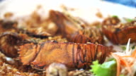 Mantis shrimp fired with garlic. Thai seafood video