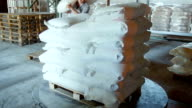 Manual loading sacks of flour and transportation on the truck video