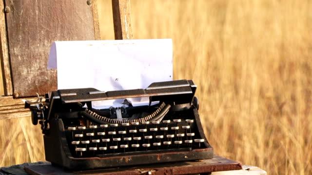 Manual Vintage Typewriter  With Sheet Of Paper At Nature video