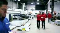 Manufacturing staff in production factory business video
