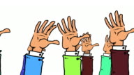 Many Cartoon Hands pop up, wave and go down again video