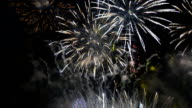 many fireworks of new years Festival of Thailand in Bangkok at Wat arun video