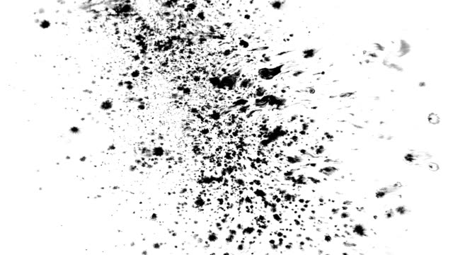 Many ink drops on wet paper video