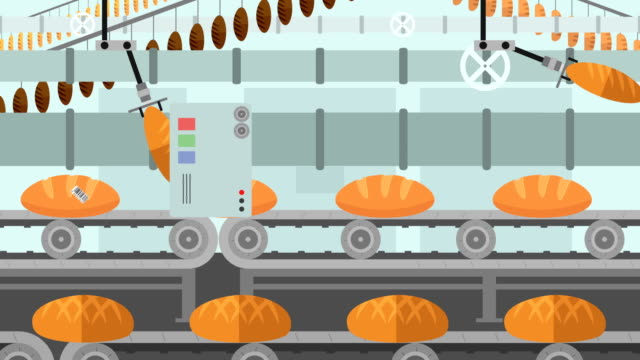 Many kinds of Bread in a Factory Conveyor in Cartoon Style video