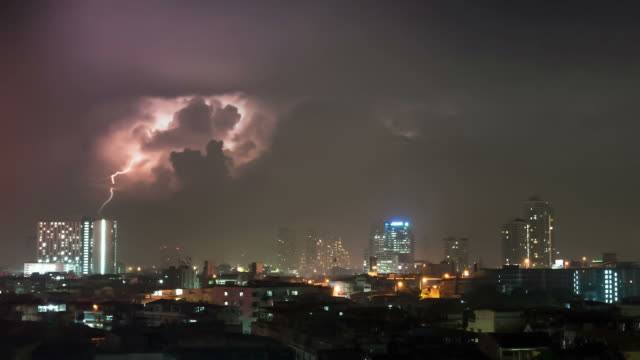 Many lightning are over of city lights. video