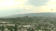 Many of Hot Air Balloons in Cappadocia Turkey video
