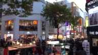 Many of people at the Myeongdong Shopping district video