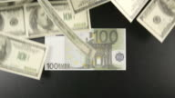 TOP VIEW: Many of Us dollars lie on a table, then they fly away and Euro stays video