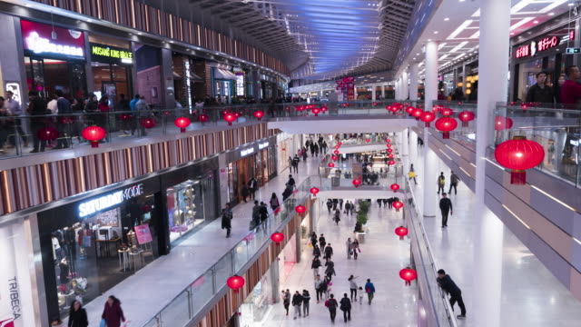 T/L WS PAN Many People in Shopping Mall / Beijing, China video