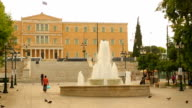 Many people walking in historical and social center of Athens, Syntagma Square video