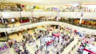 Many poeple in shopping mall,High angle view video