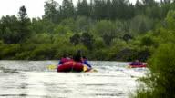 Many rafting boats video