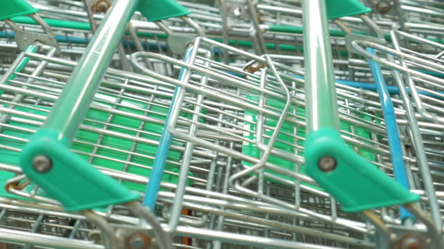 Many shopping cart in a row,Dolly shot video