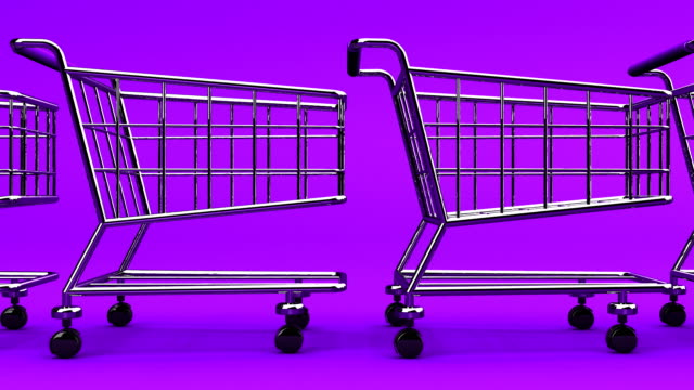 Many Shopping Carts On Purple Background video