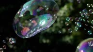 Many small bubbles scatter in different directions video