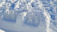 Many snowman built on the snowgrounds video