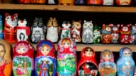 Many souvenir Russian wooden dolls video