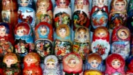 Many souvenir Russian wooden dolls, which are called Matryoshka video