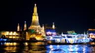 many type of boats on river at Wat Arun, Bangkok, Thailand video