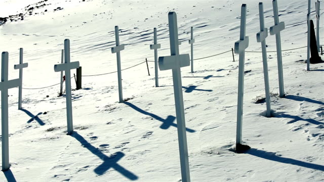 Many white crosses on the site of an old abandoned cemetery. video
