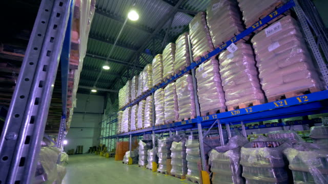 Many wrapped pallets full of goods on warehouse shelves. video