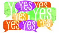 Many YES's draw on various handpainted speech bubbles video
