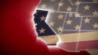 USA map, California pull out, all states available. Red video