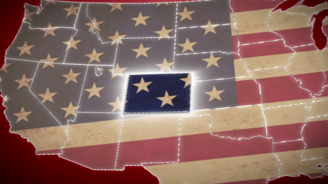 USA map, Colorado pull out, all states available. Red video