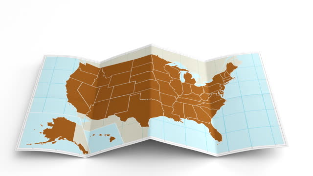 USA map folds out on white. Three in one. video