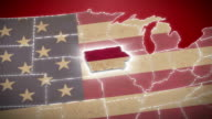 USA map, Iowa pull out, all states available. Red video