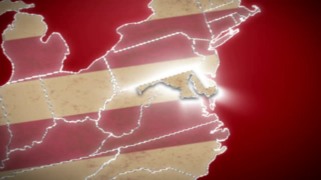 USA map, Maryland pull out, all states available. Red video