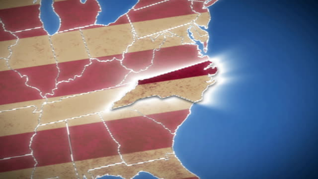 USA map, North Carolina pull out, all states available video