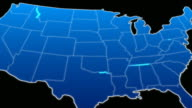 map of USA in blue video