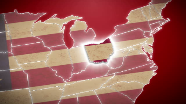 USA map, Ohio pull out, all states available. Red video