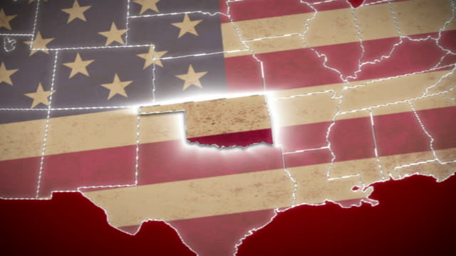 USA map, Oklahoma pull out, all states available. Red video