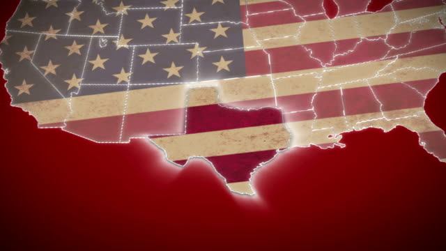 USA map, Texas pull out, all states available. Red video
