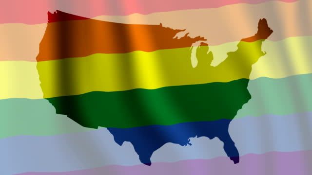 USA Map with Gay Pride Flag video