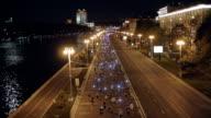 Marathon city runners at night video