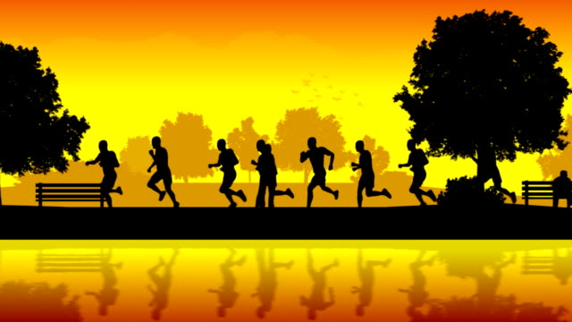 Marathon runners. Silhouettes of running people video