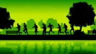 Marathon runners. Silhouettes of running people video
