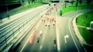 Marathon runners time lapse tilt shift video