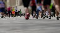 Marathon runners. video