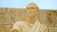 Marble statue of famous ancient Greek new comedy dramatist, art video