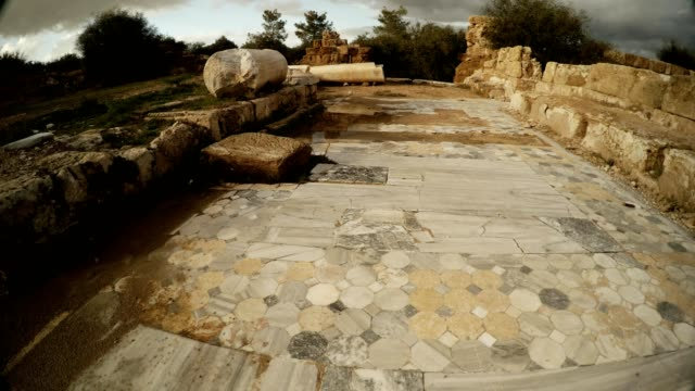Marble tiles of Antique street ruins Salamis Cyprus video